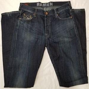 Evisu Ramen jeans men sz 38 waist dark wash